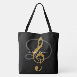sacola preta com seu clef do nome & de triplo bolsa tote