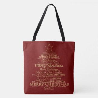 Sacola vermelha da árvore de Natal do ouro Bolsas Tote