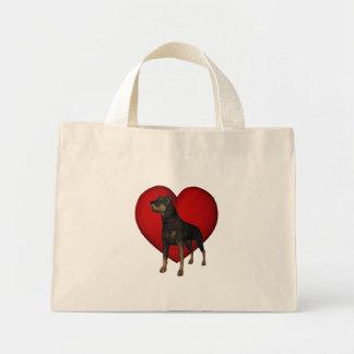 Sacola vermelha do cão do coração de Rottweiler Bolsas De Lona
