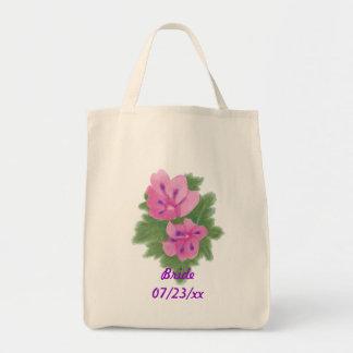 Sacolas roxas cor-de-rosa do casamento da noiva do bolsa tote