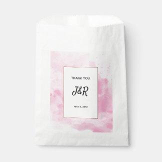 Sacolinha Casamento romântico do fundo da aguarela no rosa