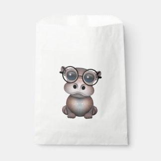 Sacolinha Hipopótamo Nerdy bonito do bebê que veste vidros