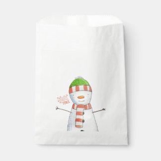 Sacolinha Natal bonito do boneco de neve da alegria e da paz