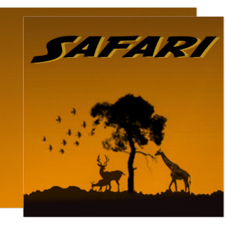 Safari de Serengeti Convite Quadrado 13.35 X 13.35cm