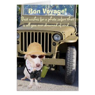 Safari engraçado da foto do bon voyage do cão cartão comemorativo