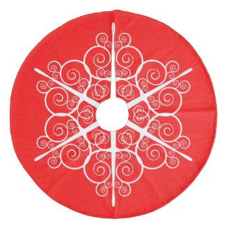 Saia Para Árvore De Natal De Lã Vermelho brilhante do design ornamentado elegante