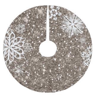 Saia Para Árvore De Natal De Poliéster Flocos de neve no bronze ID454 do brilho