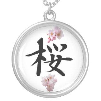 Sakura - flor de cerejeira colar banhado a prata