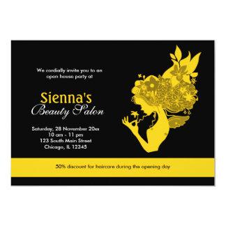 Salão de beleza da grande inauguração (ouro) convite 12.7 x 17.78cm