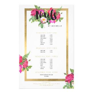 Salão de beleza do prego, branco floral do texto flyer 13.97 x 21.59cm