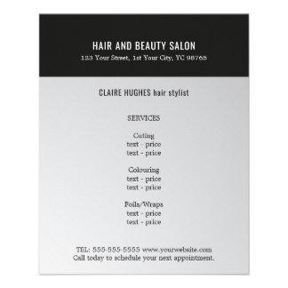 Salão de beleza escuro elegante do preto da prata flyer 11.43 x 14.22cm
