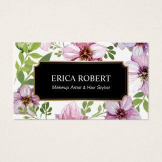 Salão de beleza floral do vintage do cabeleireiro cartão de visitas