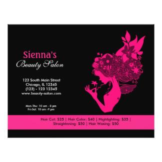 Salão de beleza (profundamente - rosa) panfletos personalizados