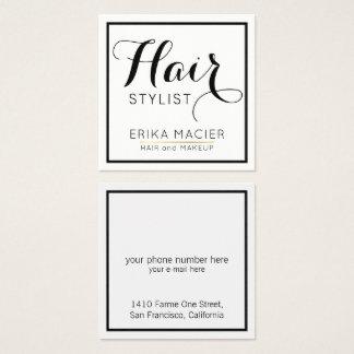 salão de beleza simples, branco & claro do cartão de visitas quadrado