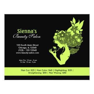 Salão de beleza (verde azeitona escura) flyer 21.59 x 27.94cm