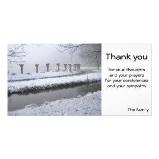 Salgueiros no inverno cartões com foto personalizados