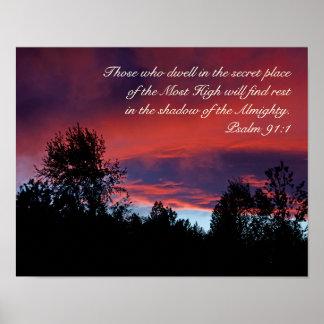 Salmo 91 aqueles que residem no lugar secreto, pôster