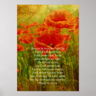 Salmo 91, poster cristão com as papoilas do pôster