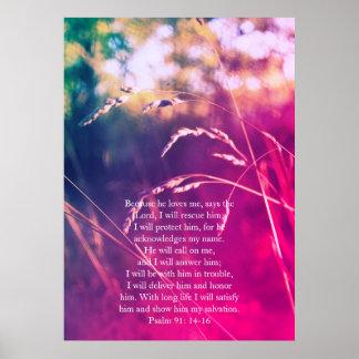 Salmo 91, poster cristão com grama sonhadora