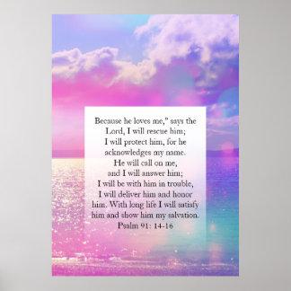 Salmo 91, poster cristão com nuvens sonhadoras pôster