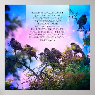 Salmo 91, poster cristão com os pássaros na árvore pôster