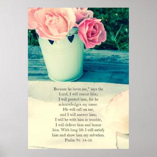 Salmo 91, poster cristão com rosas cor-de-rosa