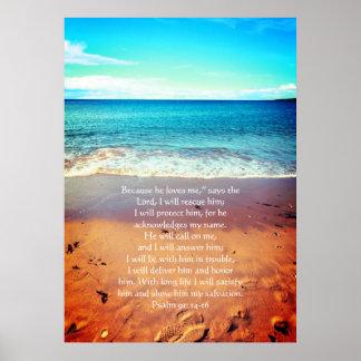 Salmo 91, poster cristão com seawaves & areia pôster