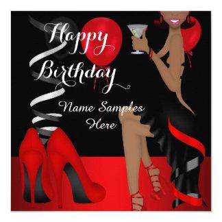 Saltos altos pretos vermelhos dos calçados da convite quadrado 13.35 x 13.35cm