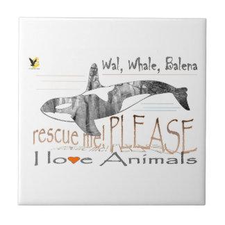 Salva-me a baleia azulejo de cerâmica