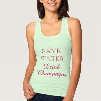 SALVAR a camisola de alças bonito do CHAMPANHE da T-shirt