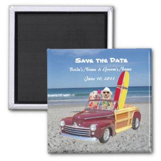 Salvar a data - casamento de praia ímã quadrado