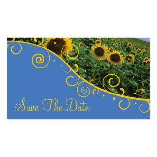 Salvar a data - girassóis cartão de visita
