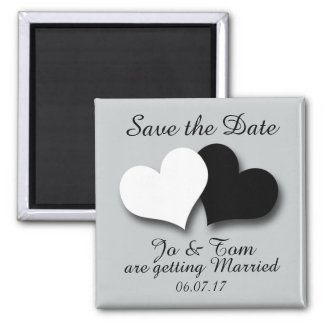 Salvar a data, ímã de dois corações ímã quadrado