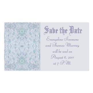 Salvar a data ou o rsvp azul, bordado verde cartão de visita