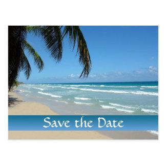 Salvar a data para o casamento de praia cartão postal