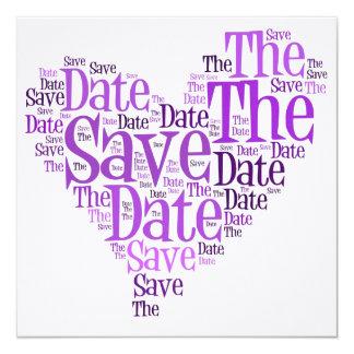 Salvar a data - Purple Heart Convite Quadrado 13.35 X 13.35cm