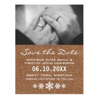 Salvar a data - um casamento do floco de neve do cartão postal