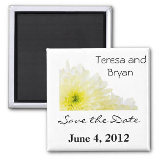 Salvar a flor do amarelo da data ímã quadrado