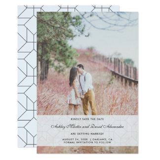 Salvar a foto do casamento da data com azul da convite 12.7 x 17.78cm