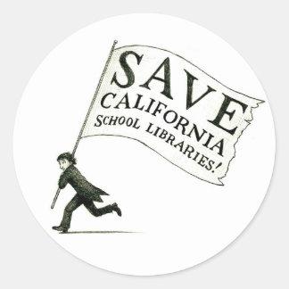 Salvar a mercadoria das bibliotecas escolares de adesivo