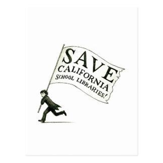 Salvar a mercadoria das bibliotecas escolares de cartão postal