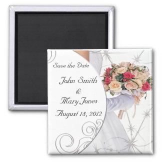 Salvar a noiva da data ímã quadrado