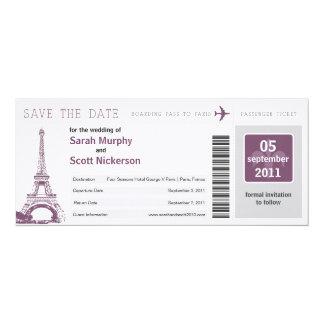 """Salvar a passagem de embarque da data a Paris Convite 10.16"""" X 23.49cm"""