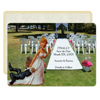 Salvar finalmente o casal inter-racial engraçado 2 convite 12.7 x 17.78cm