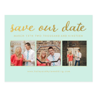 Salvar nosso cartão da foto da tipografia do ouro cartoes postais