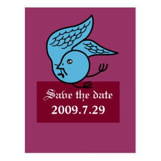 Salvar o bluebird da data cartão postal