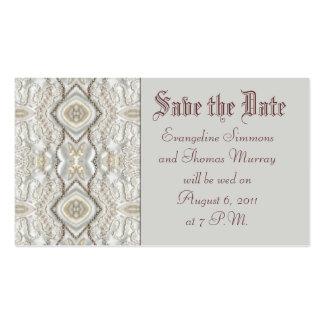 Salvar o bordado antigo do marfim da data ou do cartão de visita