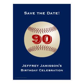 Salvar o cartão do basebol do aniversário do 90 da cartão postal