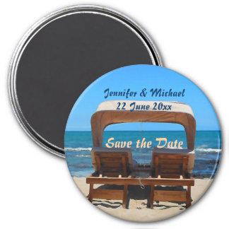 Salvar o casamento de praia da data ímã redondo 7.62cm