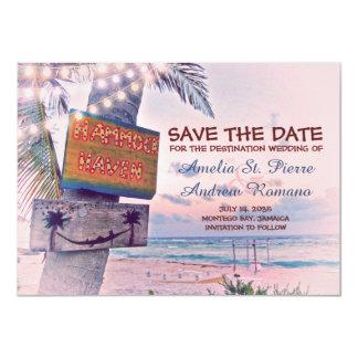Salvar o casamento de praia romântico da luz da convite 11.30 x 15.87cm